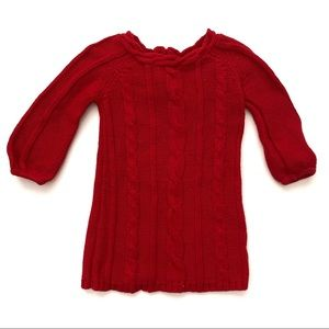 Old Navy Girls Red Cable Knit Sweater Dress 12-18
